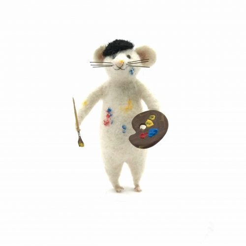 a card design of a needle-felted arty mouse called 'Artemous'