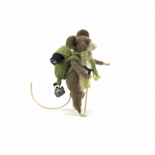a blank card of a needle-felted mouse called Edmund the hiker mouse. He has a rucksack and a kettle hanging formats straps.