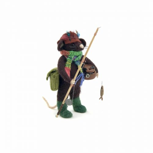 card design of needle-felted mouse dressed up as a fisherman