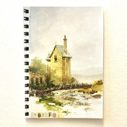 greeting card of Rivington pigeon tower in sketchbook style