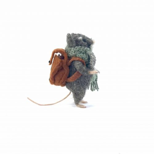 card design of a needle-felted mouse with a rucksack on his back