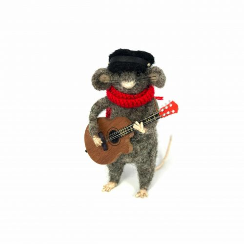 a card design of a needle-felted mouse playing a guitar