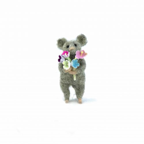 a card design of a needle-felted mouse holding a bunch of flowers.