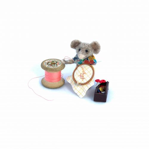 a card design of a needle-felted mouse doing some embroidery