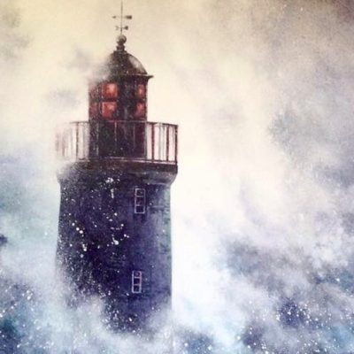 stormy lighthouse square