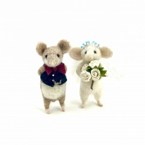 a card design of two needle-felted mice dressed in wedding clothes